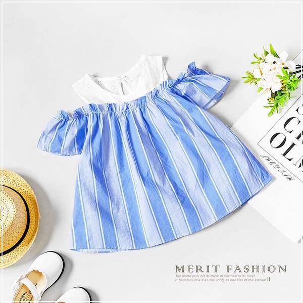 大童 氣質鏤空蕾絲露肩藍條紋短T 女童 春夏 短袖 上衣 T恤