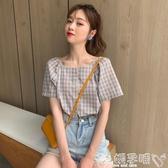 雙11襯衫短袖格子襯衫女夏裝2020新款韓版小清新寬鬆方領洋氣法式復古上衣