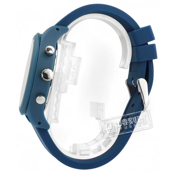 ALBA / VD53-X347B.AT3G29X1 / 礦石強化玻璃 三眼計時 日期 防水100米 矽膠手錶 銀白x藍 44mm