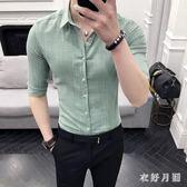 中大尺碼 型男襯衫潮流帥氣休閒襯衣男中袖 WD3665【衣好月圓】