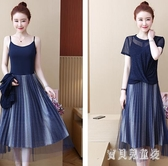 中大尺碼連身裙兩件式洋裝2020夏胖MM洋氣大碼修身印花網紗裙套裝 LF2160『寶貝兒童裝』