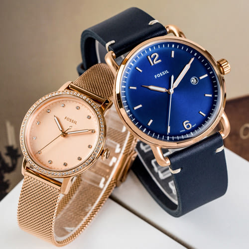 FOSSIL 簡約奢華情人對錶 FS5274+ES4365 情侶對錶 皮革錶帶 熱賣中!