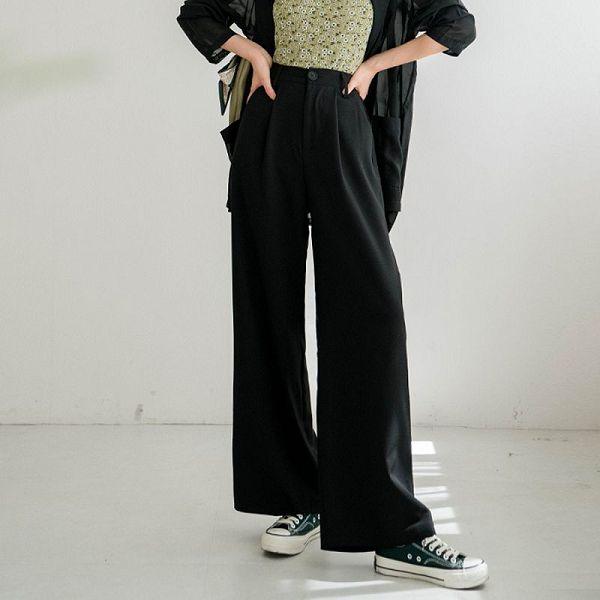 MIUSTAR 修身款!鬆緊打褶直筒西裝寬褲(共4色)【NJ1925】預購
