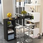 吧台櫃 定製帶櫃簡約現代家用靠牆旋轉小吧台桌簡易玄關酒櫃客廳屏風隔斷T 5色