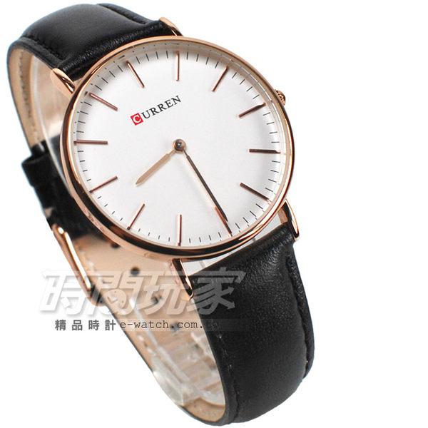 CURREN 簡單都會 時尚腕錶 皮革錶帶 女錶 玫瑰金x黑色 CU8209玫黑小