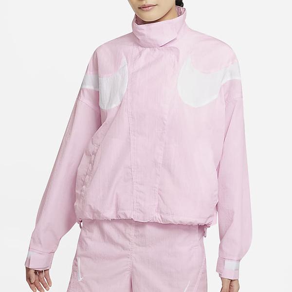 NIKE Swoosh Repel 女裝 外套 立領 寬版 梭織 休閒 防水 口袋 粉【運動世界】DD5585-695