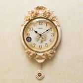 歐式鐘表創意掛鐘大氣客廳靜音時鐘時尚臥室電子掛表家用個性美式 居享優品