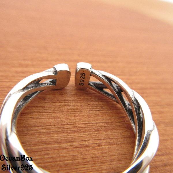 ☆§海洋盒子§☆精緻質感。編織薰黑設計開口式純銀戒指 《925純銀戒指》