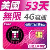 【TPHONE上網專家】美國 53天無限高速上網卡 包含境內無限通話和無限簡訊 使用AT&T電信基地台