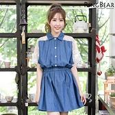 洋裝--輕甜清新風情縷空蕾絲繡花網紗拼接排釦鬆緊收腰單寧洋裝(黑.藍XL-5L)-D405眼圈熊中大尺碼