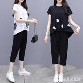 棉麻休閒套裝女 夏季新款寬鬆中大呎碼短袖褲裝 時尚洋氣九分褲 TR497『寶貝兒童裝』