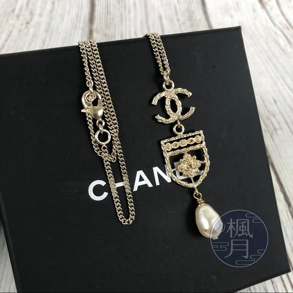 BRAND楓月 CHANEL 香奈兒 LOGO 金邊 珍珠 盾牌 項鍊 飾品 配件