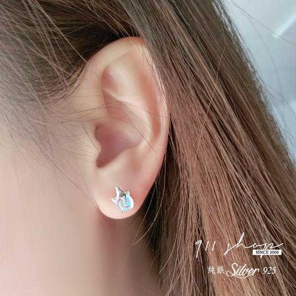 Favour.925純銀獨角獸寶石彩虹不對稱穿針式耳環【s330】911 SHOP