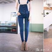 背帶褲牛仔褲女春裝新款高腰顯瘦小腳褲彈力韓風學生鉛筆褲潮 娜娜小屋
