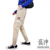 EASON SHOP(GW0755)實拍USA美國LOG鬆緊腰抽繩綁帶多口袋工裝褲女高腰長褲直筒九分褲顯瘦休閒褲
