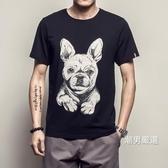 夏季新品狗白色短袖T恤男士加肥大尺碼圓領體恤衣服正韓潮男裝M-5XL