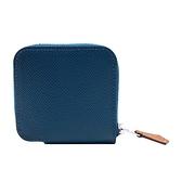 【台中米蘭站】全新品 Hermes silk in系列 EPSOM小牛皮拉鍊絲巾零錢包(藍)
