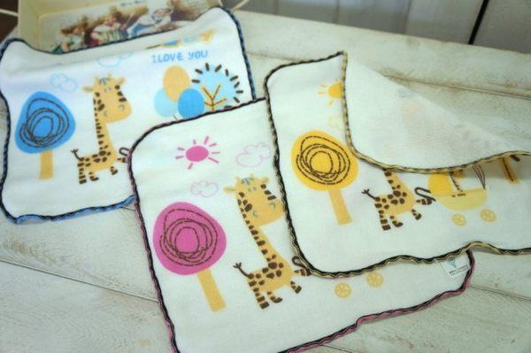 ((偉榮毛巾)) MIT~100%純棉柔軟-長頸鹿紗布方巾/手帕,大人小孩都適用