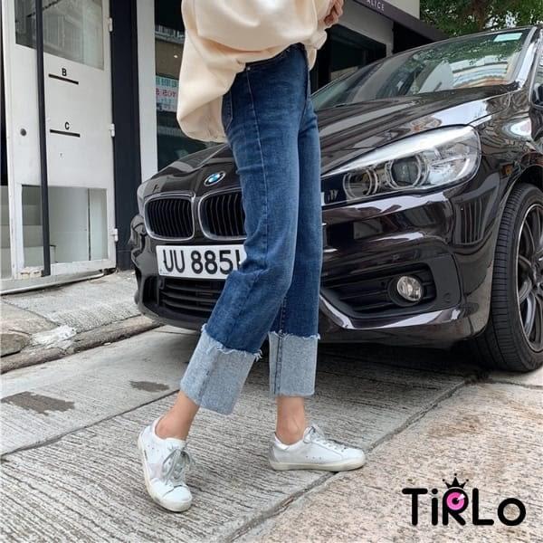 牛仔褲-Tirlo-推薦!小復古翻邊直筒褲-兩色/SML(現+追加預計5-7工作天出貨)