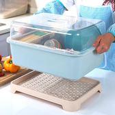 廚房大號瀝水碗櫃帶蓋碗筷收納盒餐具收納盒碗碟架滴水碗盤置物架【全館八八折促銷】