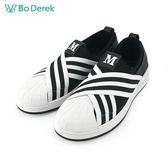 【Bo Derek 】貝殼頭交叉編織帶休閒鞋-黑色