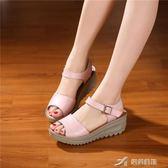 坡跟涼鞋女夏中跟女鞋新款舒適孕婦夏季平底一字帶涼鞋 樂芙美鞋
