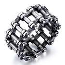 《 QBOX 》FASHION 飾品【R19N651】精緻個粗曠性單車鏈條鑄造鈦鋼戒指/戒環