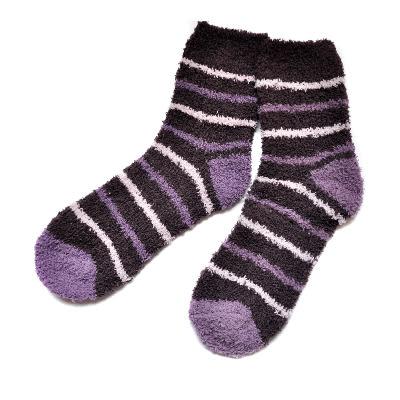 珊瑚絨保暖襪 紫 保暖襪 冬季襪子 中筒襪 刷毛襪 刷毛長襪 台灣製【mocodo 魔法豆】