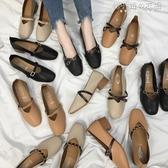 女鞋新款春季奶奶鞋粗跟單鞋2018韓版春秋百搭中跟豆豆鞋子女 韓小姐的衣櫥