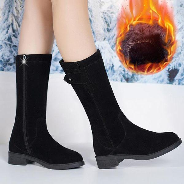 中筒雪靴 真皮中筒靴女平底短靴粗跟馬丁靴過膝長筒靴