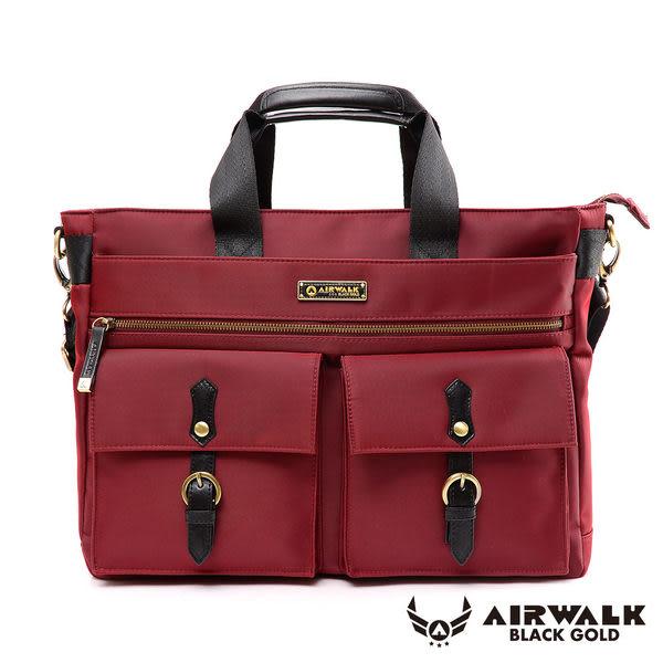 AIRWALK-【禾雅】頂級黑金系列時光行者筆電托特包/肩背包/手提包/公事包-大容量-時光紅A331410440