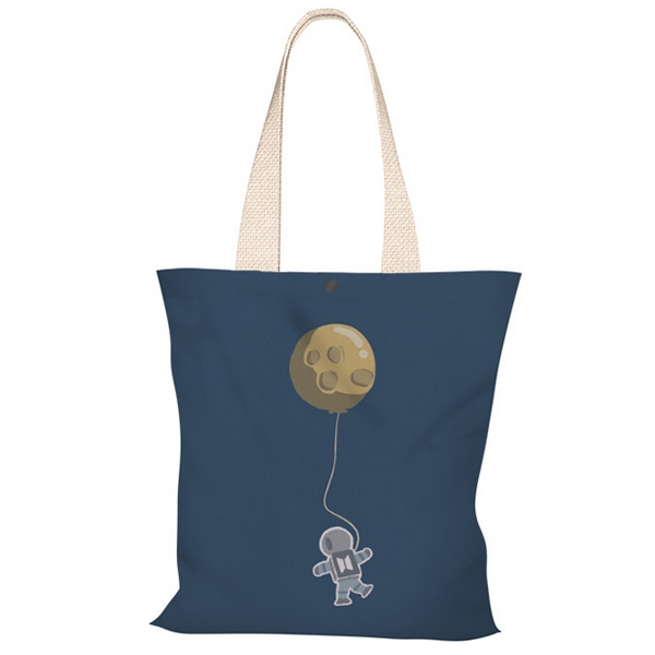 OT SHOP[現貨]側肩背 帆布包 手提袋 購物袋 托特包 絲絨布 氣球 太空人 插畫 簡約小清新配件 H2082