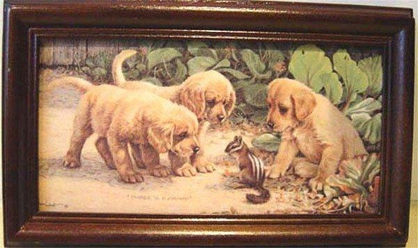 橫式Key box壁飾禮物 .......黃金獵犬Three s a crowd