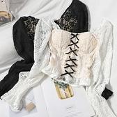 一字肩 甜美冬裝撞色蝴蝶結氣質小衫韓版一字領木耳邊短襯衫勾花鏤空蕾絲上衣