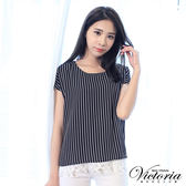 Victoria  假二件式雪紡蕾絲層次短袖T-女-黑底白條
