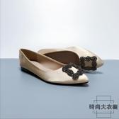 氣質少女大碼平底鞋綢緞水鉆方扣尖頭淺口單鞋【時尚大衣櫥】
