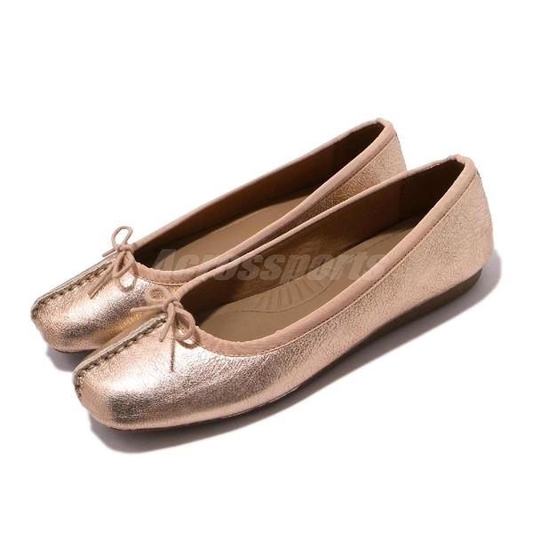 Clarks 平底鞋 Un Freckle Ice 玫瑰金 娃娃鞋 真皮鞋面 女鞋 【PUMP306】 CLF39727SC19