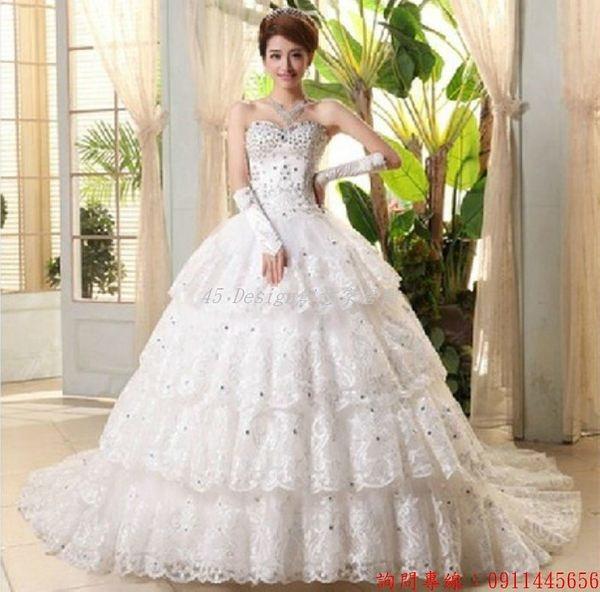 (45 Design) 客製化 預購7天到貨    新款婚紗韓式韓版綁帶抹胸新娘拖尾婚紗蕾絲水鑽