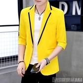 夜場韓版中袖小西裝男士夏季發型師帥氣修身七分袖西服伴郎禮服潮 印象家品
