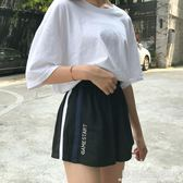 韓版休閒跑步運動短褲女夏季百搭寬鬆學生高腰大碼胖MM黑