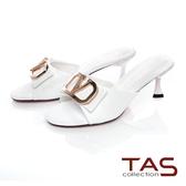 TAS V字鑽扣牛皮涼拖鞋-輕感白