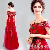 中式婚紗   復古浪漫紅色櫻花刺繡新娘結婚敬酒長款綁帶婚紗禮服052 『歐韓流行館』