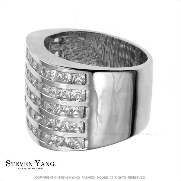 戒指STEVEN YANG正白K飾「奢華滿鑽」半寶方晶鋯石 名媛淑女款 百貨專櫃品