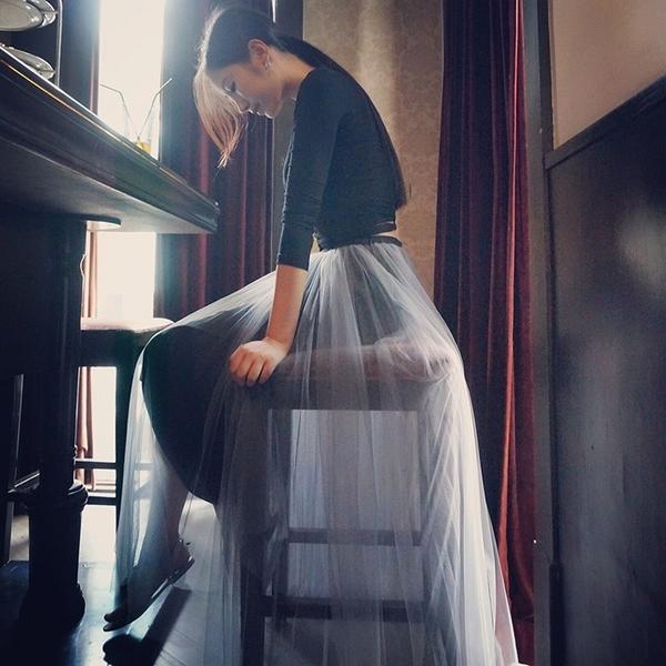 秋季新款網紗半身裙中長款高腰a字裙冬裙紗裙蓬蓬裙仙女裙子 【八折搶購】