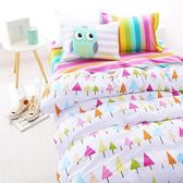 ✰加大鋪棉床包兩用被四件組✰100%精梳純棉(6×6.2尺)《炫彩森林》
