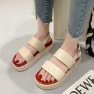 涼鞋.韓版潮流雙層配色寬帶圓頭厚底涼鞋.白鳥麗子
