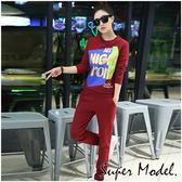 【名模衣櫃】鮮豔色塊字母造型長袖運動套裝-紅(F可選) 33749-02