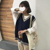 【新年鉅惠】三木子新款針織馬甲上衣女寬鬆套頭秋冬正韓學生無袖毛衣背心