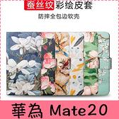 【萌萌噠】華為 Mate20 pro Mate20X 復古簡約花卉系列 輕薄彩繪蠶絲紋側翻皮套 全包防摔軟殼 手機殼