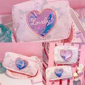 日系卡通可愛兔子文具收納袋軟妹鐳射愛心化妝包旅行便攜洗漱包女    祕密盒子